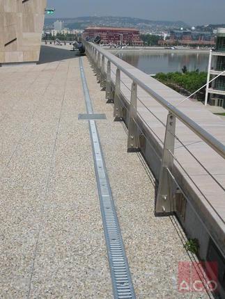 PROFILINE típusú horganyzott acél folyókatest, oldalán perforálva, hogy a vízáteresztő burkolat alatti vizet is elvezethessük.